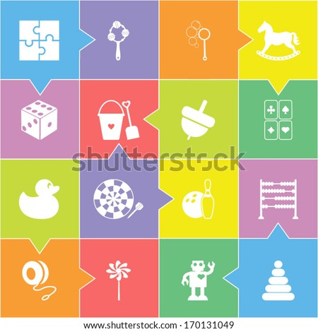 Toys icons set - stock vector