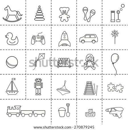 Toys icons set. Outlines. Vector illustration.