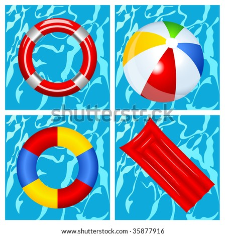 Toys in the swimming pool, vector illustration, EPS file included - stock vector