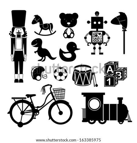 toys over white background vector illustration - stock vector