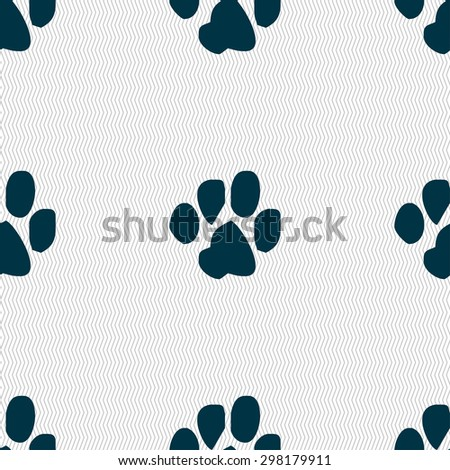 trace dogs icon sign. Seamless pattern with geometric texture. Vector illustration - stock vector