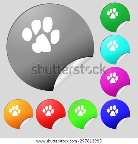 trace dogs icon sign. Set of eight multi colored round buttons, stickers. Vector illustration - stock vector