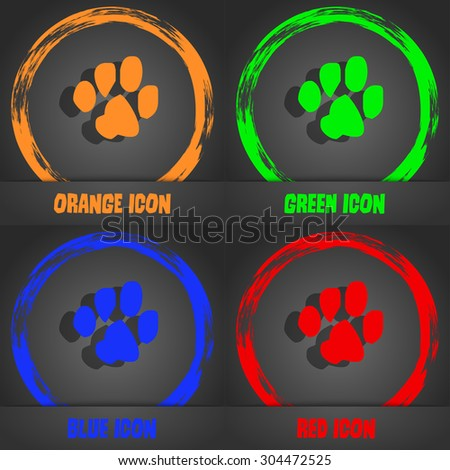 trace dogs icon symbol. Fashionable modern style. In the orange, green, blue, green design. Vector illustration - stock vector