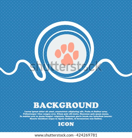trace dogs sign icon. Blue and white abstract background flecked with space for text and your design. Vector illustration - stock vector