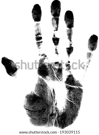 Trace of human palm on white background Isolated. For design use. - stock vector