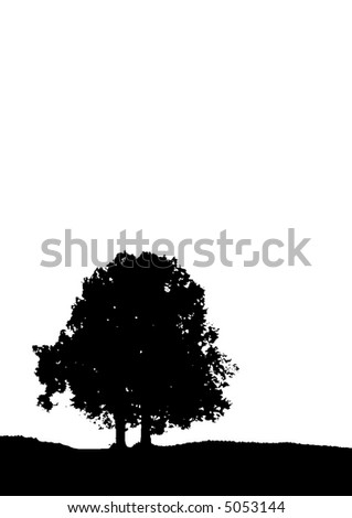 Traced two trees silhouette (vector, illustration, background )