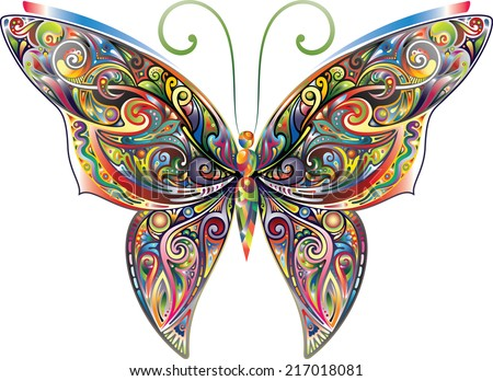 Tracery butterfly, bright gradient - stock vector