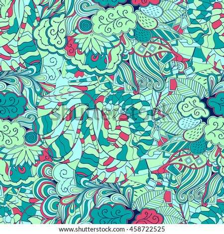 Tracery seamless calming pattern. Mehendi design. Ethnic colorful sea green doodle texture. Indifferent discreet. Curved doodling mehndi motif. Vector.