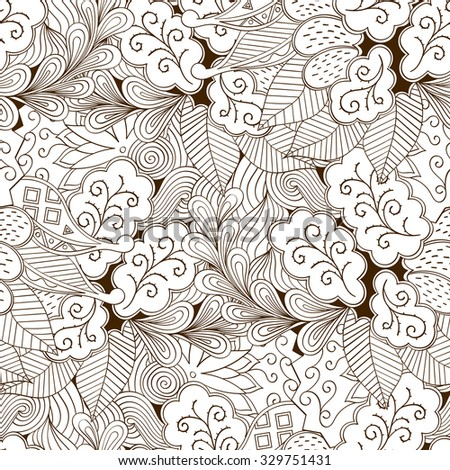 Tracery seamless calming pattern. Mehendi design. Neat even binary harmonious doodle texture. Algae sea motif. Indifferent ethnical. Ambitious bracing usable, curved doodling mehndi. Vector. - stock vector