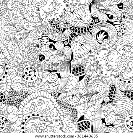 Tracery seamless calming pattern. Mehendi design. Neat even binary harmonious doodle texture. Algae sea motif. Indifferent discreet. Ambitious bracing usable, curved doodling mehndi. Vector. - stock vector