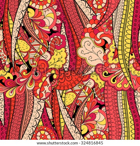 Tracery seamless calming pattern. Mehendi design. Neat even red harmonious doodle texture. Algae sea motif. Indifferent discreet. Ambitious bracing usable, curved doodling mehndi. Vector. - stock vector