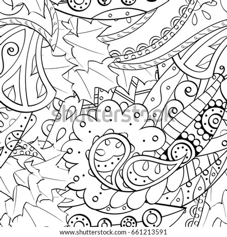 Tracery seamless pattern. Mehndi design. Ethnic monochrome binary doodle texture. Curved doodling black and white background. Vector