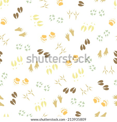 Traces animals seamless pattern. Color. - stock vector