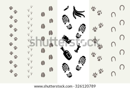 Traces of animals and humans. Poster for the Protection of the Environment. Vector illustration - stock vector