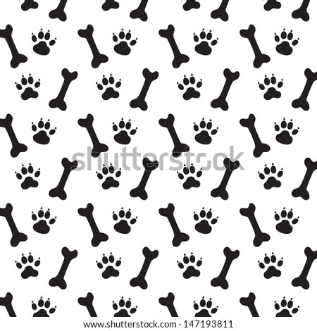 Traces of Dog and Bones. Black and White Vector Pattern. - stock vector