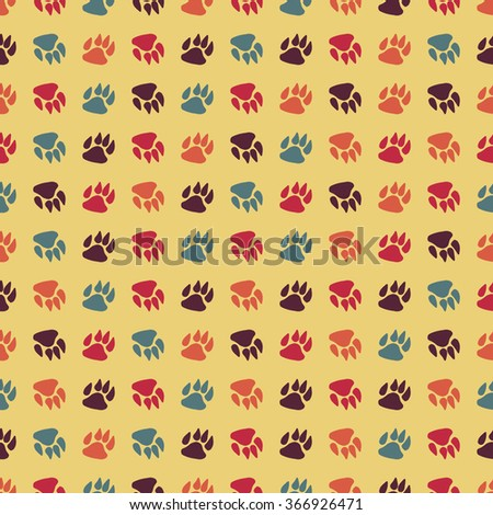 Traces of dog seamless pattern background. Vector animal print wallpaper.