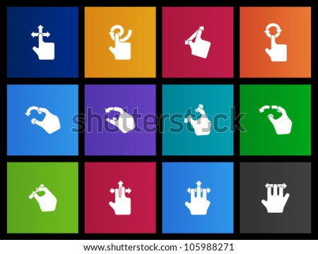 Track pad gesture  icon series in Metro style - stock vector