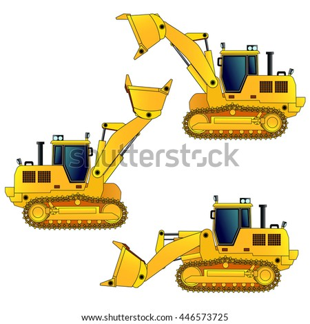 Tracked loader, vector illustration. Isolated on white. Icon. Flat style. Silhouette - stock vector