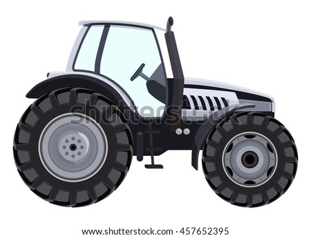 Tractor a side view on white background