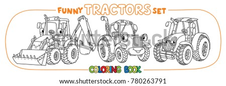 Tractor Coloring Book Set Kids Small Stock Photo (Photo, Vector ...