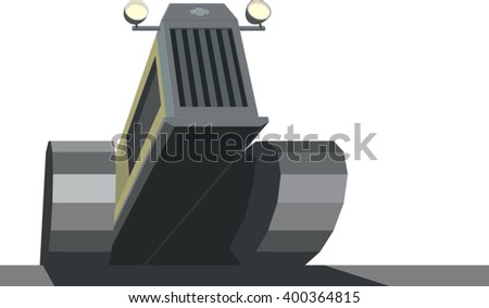 Tractor crawling upward isolated on white background. Agriculture machine industry concept. Offroad caterpillar transport. Crawler front view. Technology background. 3d style Vector illustration - stock vector