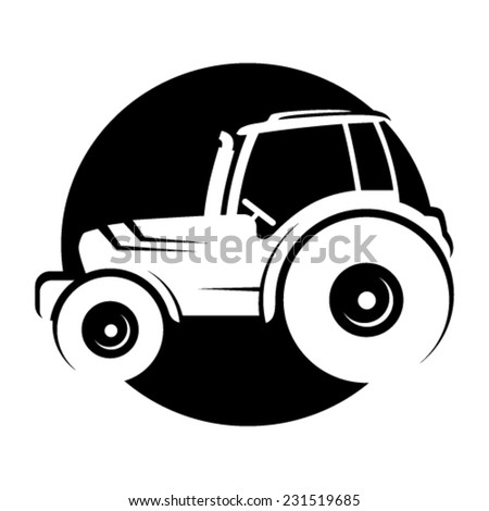 Tractor icon - black symbol isolated from background - stock vector
