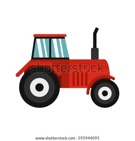 Tractor icon in flat style isolated on white background vector illustration