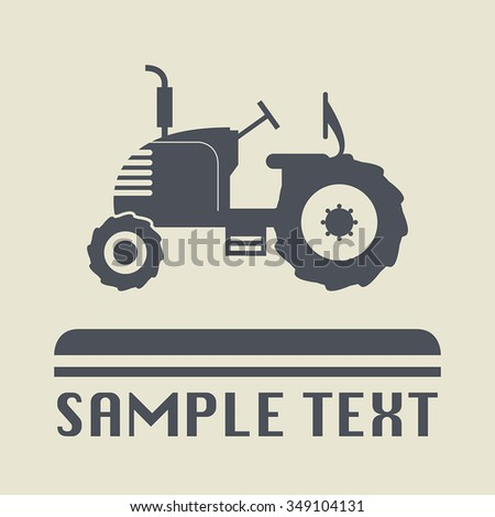 Tractor icon or sign, vector illustration - stock vector
