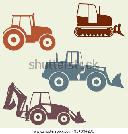 Tractor icon set isolated on white background. Tractor grader, bulldozer silhouette. Vector illustration. - stock vector