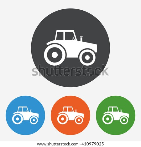 Tractor icon sign. Tractor icon flat design. Tractor icon for app. Tractor icon for logo. Tractor icon picture. Circle buttons with flat icon. Vector - stock vector