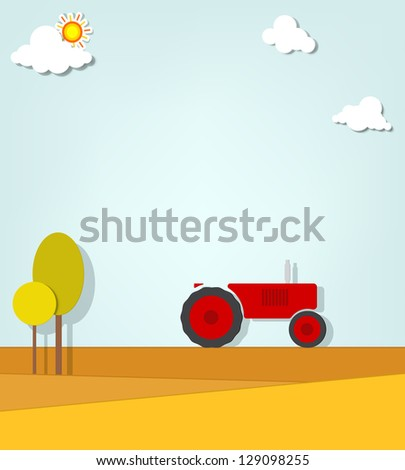 tractor in a field - stock vector