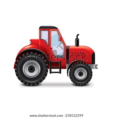 Tractor isolated on white photo-realistic vector illustration