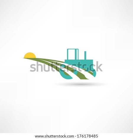 tractor on a farm - stock vector