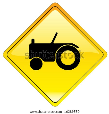 Tractor warning sign (us style) - vector file - stock vector