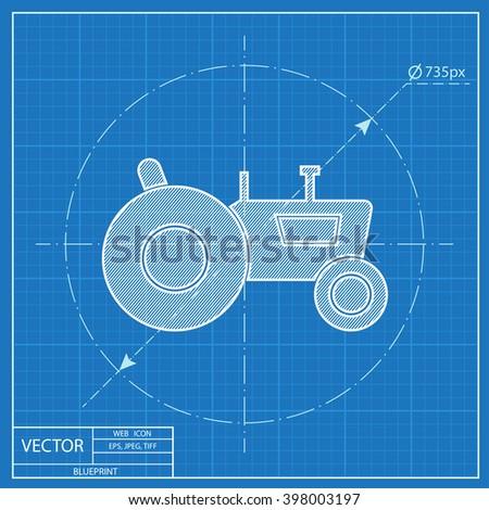 Tractor web blueprint icon vector illustration stock vector tractor web blueprint icon vector illustration malvernweather Choice Image
