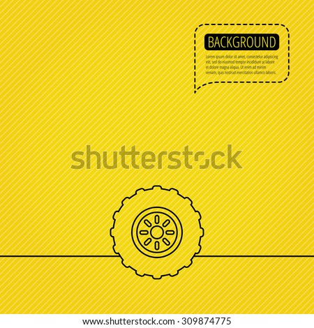 Tractor wheel icon. Tire service sign. Speech bubble of dotted line. Orange background. Vector - stock vector