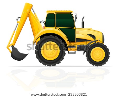 tractor with a bucket behind vector illustration isolated on white background - stock vector