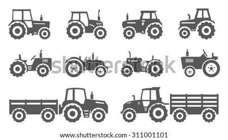 tractors on the white background - stock vector