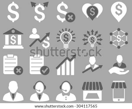 Trade business and bank service icon set. These flat bicolor icons use dark gray and white colors. Images are isolated on a silver background. Angles are rounded. - stock vector