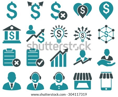 Trade business and bank service icon set. These flat bicolor icons use soft blue colors. Images are isolated on a white background. Angles are rounded. - stock vector