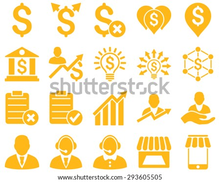 Trade business and bank service icon set. These flat icons use %icon_colors%. Images are isolated on a white background. Angles are rounded. - stock vector