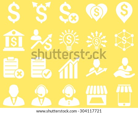Trade business and bank service icon set. These flat icons use white color. Images are isolated on a yellow background. Angles are rounded. - stock vector