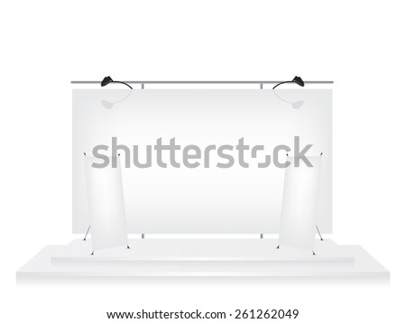 Trade exhibition stand and roll up x-stand banner illustration - stock vector