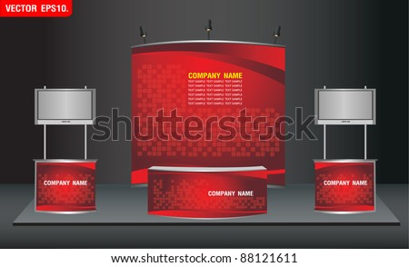trade exhibition stand and widescreen lcd monitor on promotion counter. with identity background ready for use design work. Vector template - stock vector