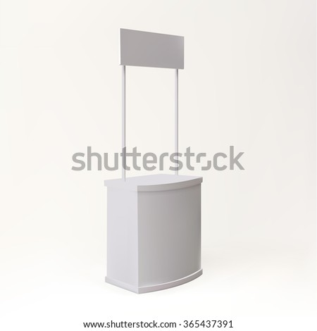 Trade exhibition stand vector isolated. Blank promotion counter