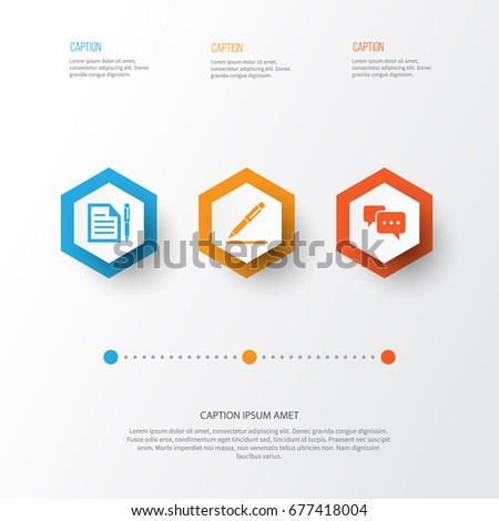Trade Icons Set Collection Contract Pen Stock Vector Royalty Free