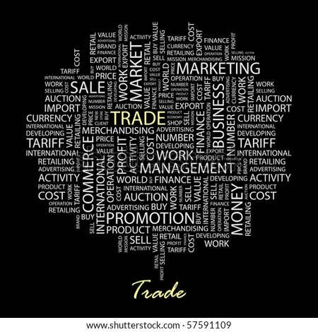 TRADE. Word collage on black background. Illustration with different association terms. - stock vector