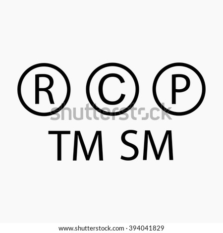 Trademark symbol. Copyright symbol. Registered symbol. Patent symbol. Precautionary labels vector set. Trademark, copyright, registered, patent icon. Trademark icon.  - stock vector