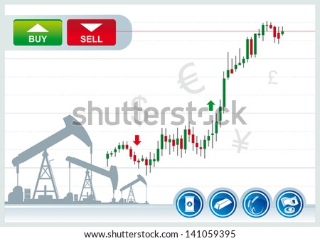 trading candles chart  on a white background - stock vector