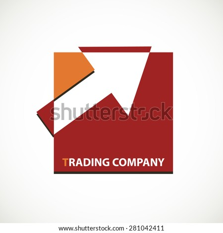 Trading company logo with arrow on square concept icon